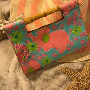 Vintage Lilly P purse wi/bamboo handles